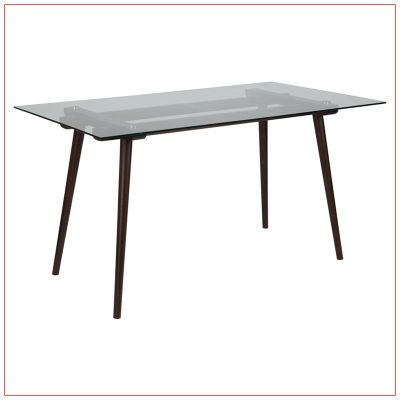 Brody Cafe Table - Glass Top with Espresso Beechwood Legs - LV Exhibit Rentals in Las Vegas