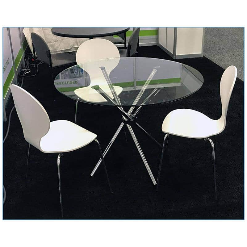 Bunny Chairs in White with Hydra Cafe Table - LV Exhibit Rentals in Las Vegas