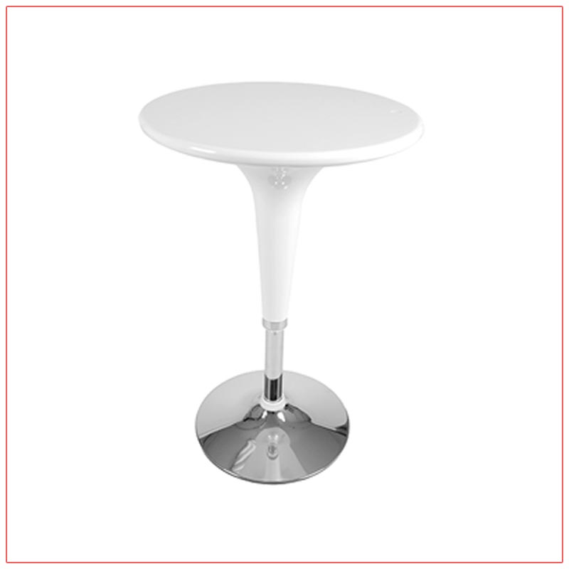 Clyde Bar Table - White - LV Exhibit Rentals in Las Vegas