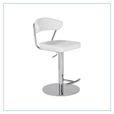 Draco Adjustable Bar Stools - White - Trade Show Furniture Rentals from LV Exhibit Rentals in Las Vegas