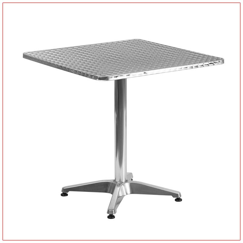 Dylan Cafe Table - Square Stainless Steel - LV Exhibit Rentals in Las Vegas