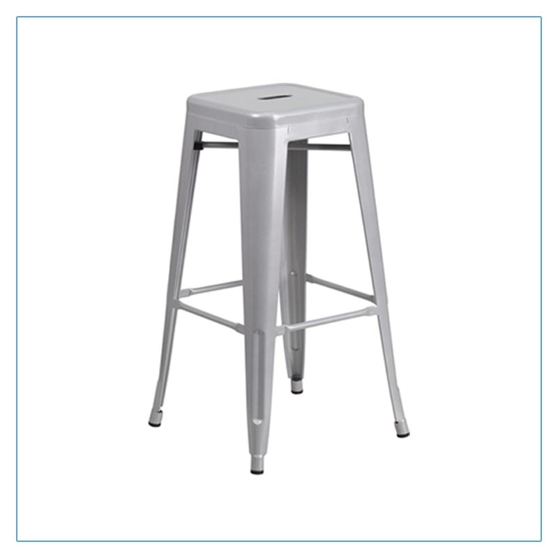 Eli Backless Bar Stools - Silver - Trade Show Furniture Rentals from LV Exhibit Rentals in Las Vegas