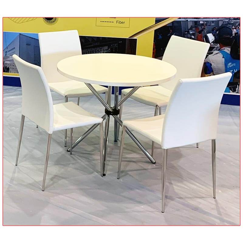 Hydra Cafe Table - 36in Round White Top - LV Exhibit Rentals in Las Vegas