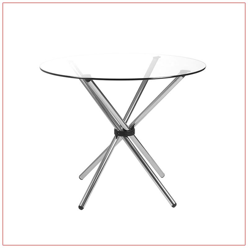Hydra Cafe Table - 42in Round Glass Top - LV Exhibit Rentals in Las Vegas