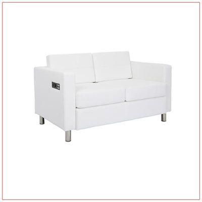 Jolt Bay Loveseat - White - LV Exhibit Rentals in Las Vegas