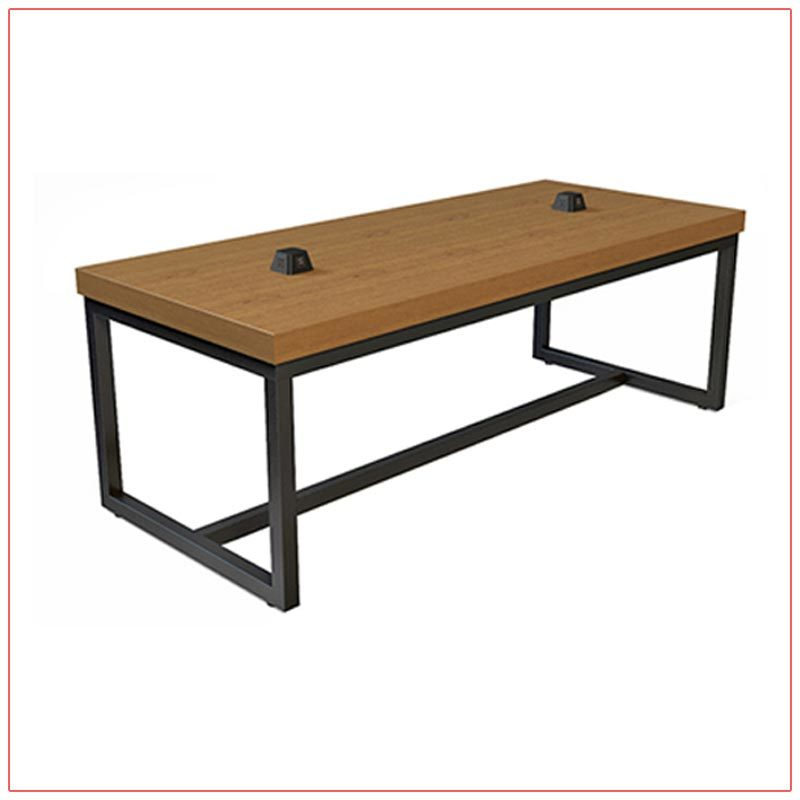 Jolt Pyramid Cafe Table - Cherry Wood Top with Black Base - LV Exhibit Rentals in Las Vegas