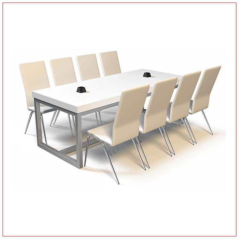 Jolt Pyramid Cafe Table in White with Chrome Base - LV Exhibit Rentals in Las Vegas