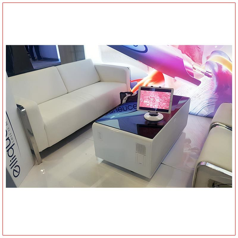 Jolt Sobro Coffee Tables and Jolt USB Sofa - White - LV Exhibit Rentals in Las Vegas