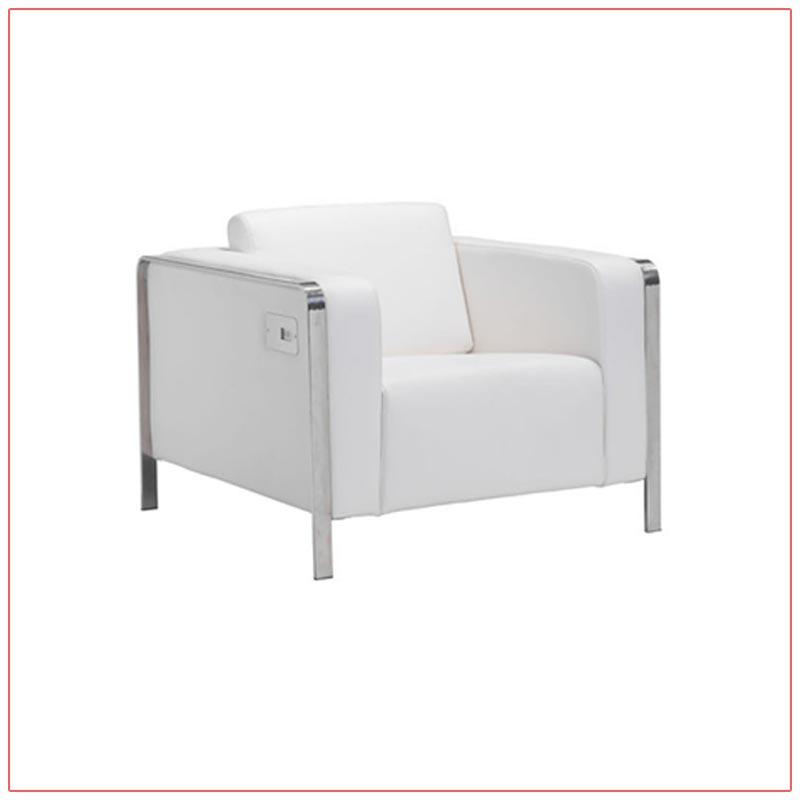 Jolt USB Arm Lounge Chairs - White - LV Exhibit Rentals in Las Vegas