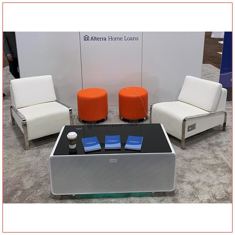 Jolt USB Armless Lounge Chairs with Jolt Sobro Coffee Table - White - LV Exhibit Rentals in Las Vegas