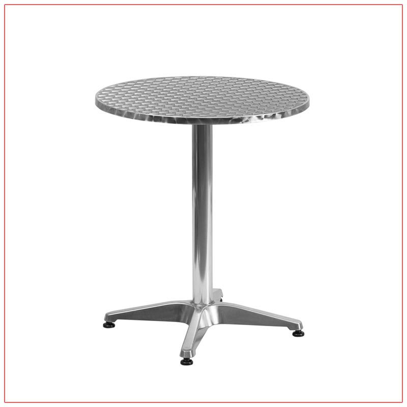 Noah Cafe Table - 24in Round Stainless Steel - LV Exhibit Rentals in Las Vegas