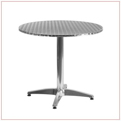 Noah Cafe Table - 32in Round Stainless Steel - LV Exhibit Rentals in Las Vegas