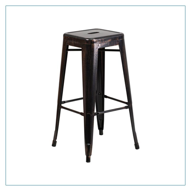 Retro Backless Bar Stools - Black-Antique Gold - Trade Show Furniture Rentals from LV Exhibit Rentals in Las Vegas