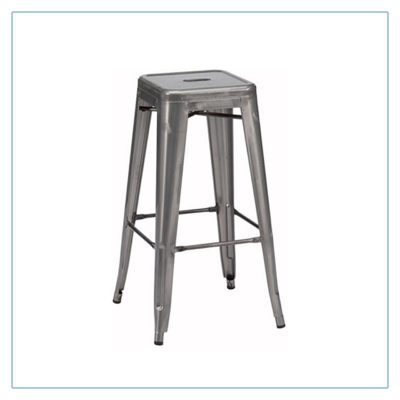 Retro Backless Bar Stools - Gunmetal - Trade Show Furniture Rentals from LV Exhibit Rentals in Las Vegas