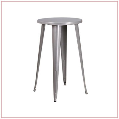 Retro Round Bar Table - Silver - LV Exhibit Rentals in Las Vegas