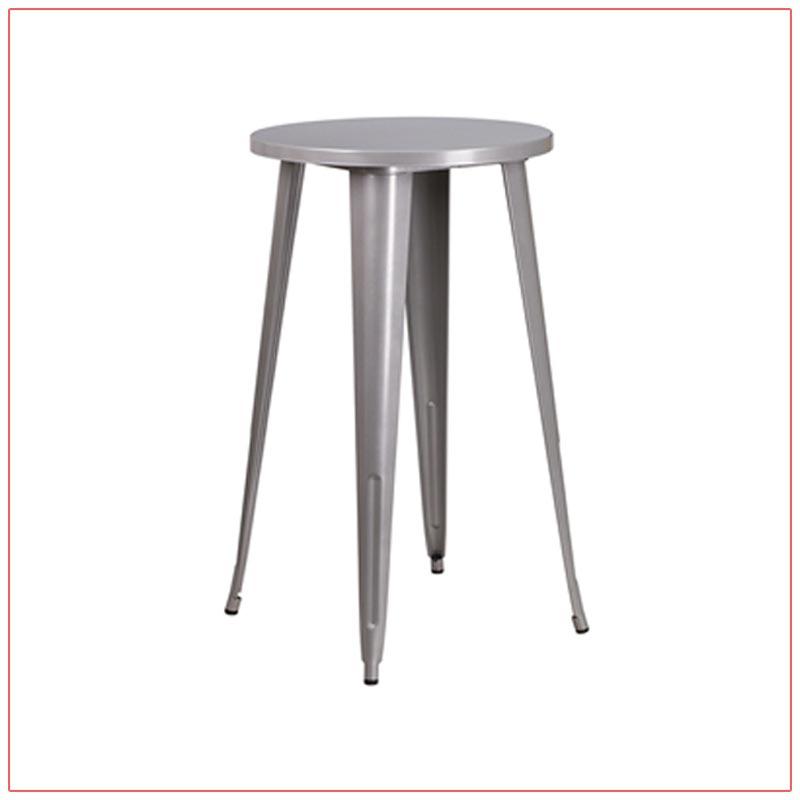 Retro Round Bar Table - Silver - LV Exhibit Rentals in Las Vegas