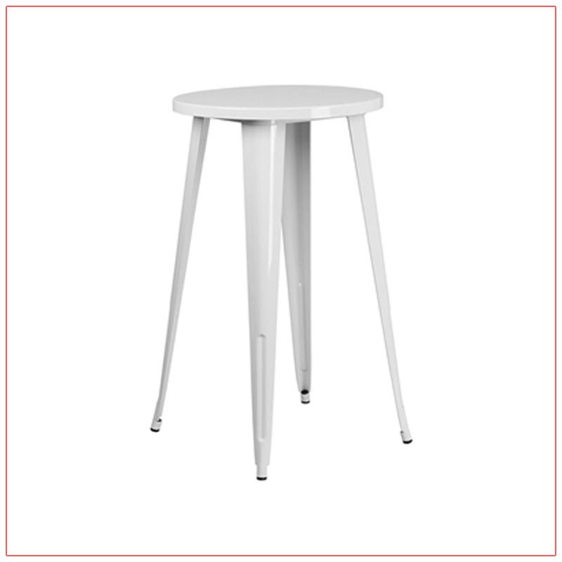 Retro Round Bar Table - White - LV Exhibit Rentals in Las Vegas