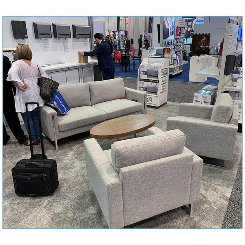 Stella Lounge Chairs - Gray Fabric - LV Exhibit Rentals in Las Vegas
