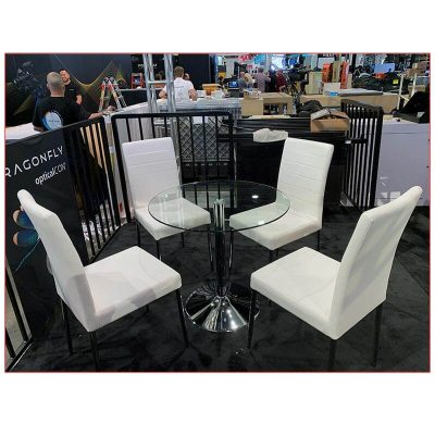 Talia Cafe Table 32in Round Glass Top - LV Exhibit Rentals in Las Vegas