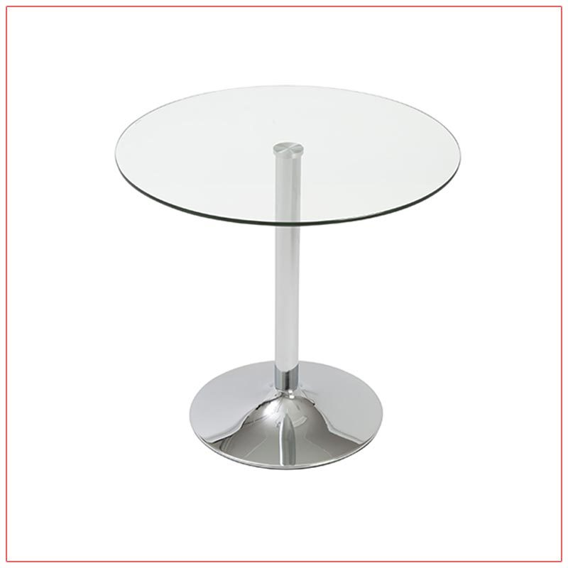 Talia Cafe Table - Glass Top - LV Exhibit Rentals in Las Vegas