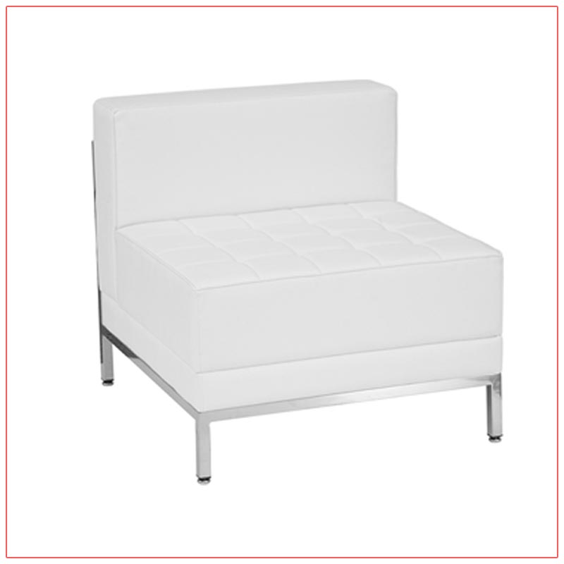 Tampa Armless Sectional - White - LV Exhibit Rentals in Las Vegas