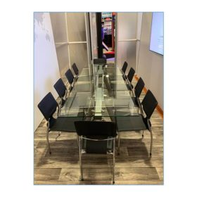 Terry Chairs in Black with Delano Conference Table - LV Exhibit Rentals in Las Vegas