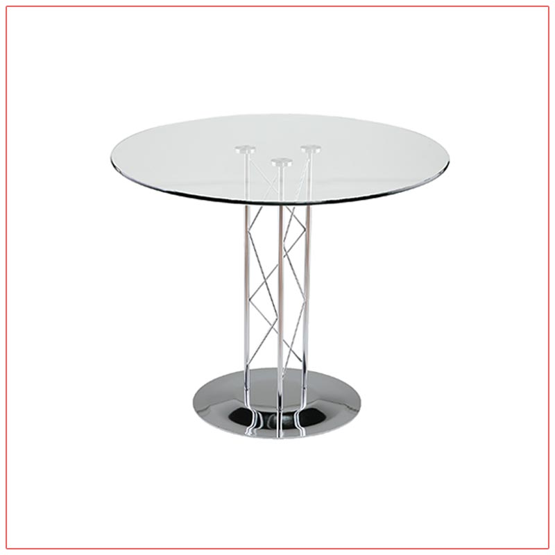 Trave Cafe Table - 32in Round Glass Top - LV Exhibit Rentals in Las Vegas