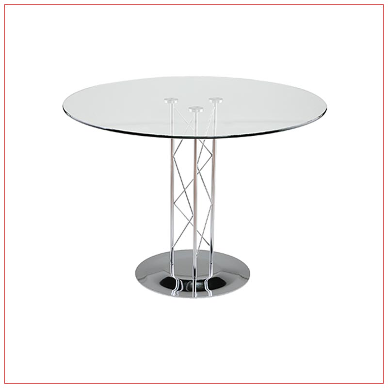 Trave Cafe Table - 36in Round Glass Top - LV Exhibit Rentals in Las Vegas