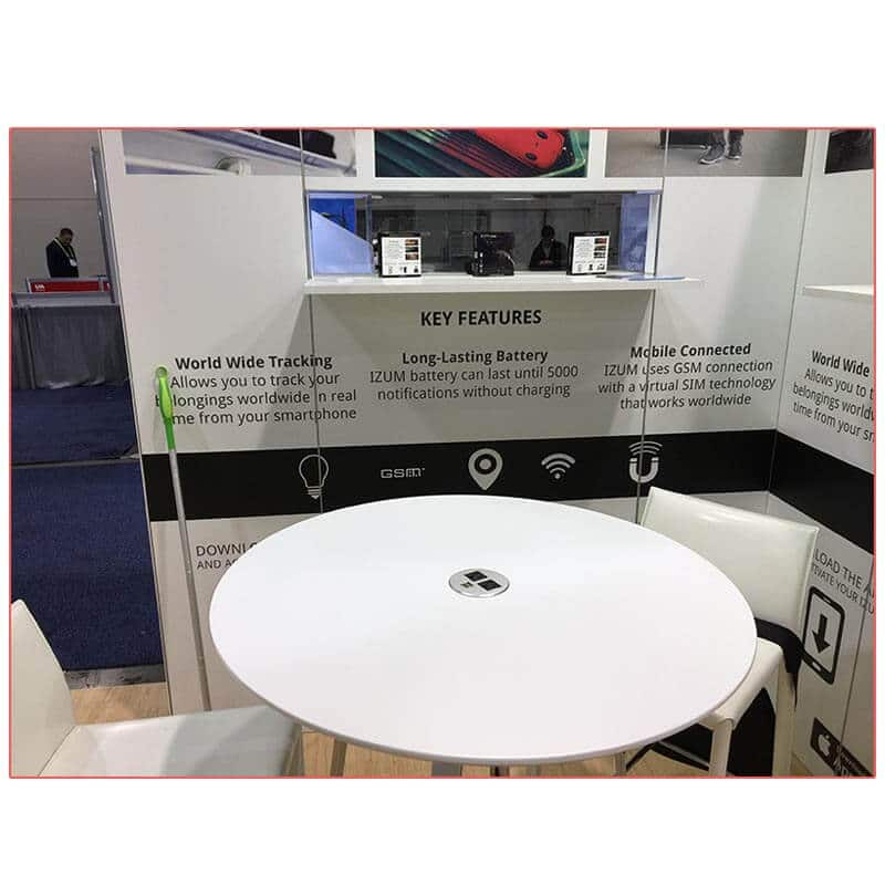 20x20 Trade Show Booth Rental Package 401 - Jolt Charging Bar Table - LV Exhibit Rentals in Las Vegas