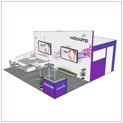 20x20 Trade Show Booth Rental Package 402 - Angle View - LV Exhibit Rentals in Las Vegas