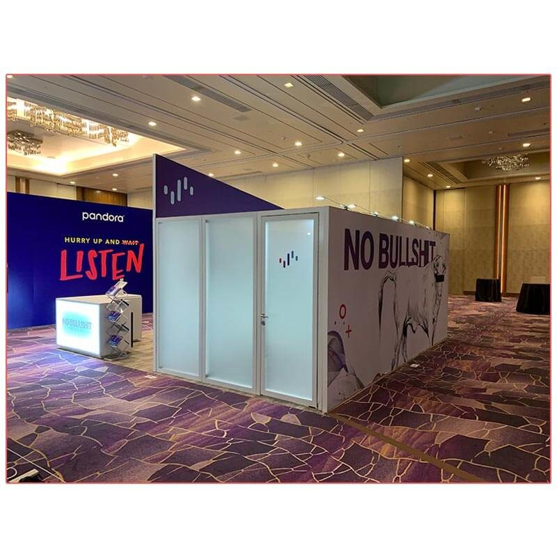 20x20 Trade Show Booth Rental Package 402 - Conference Room Side - LV Exhibit Rentals in Las Vegas