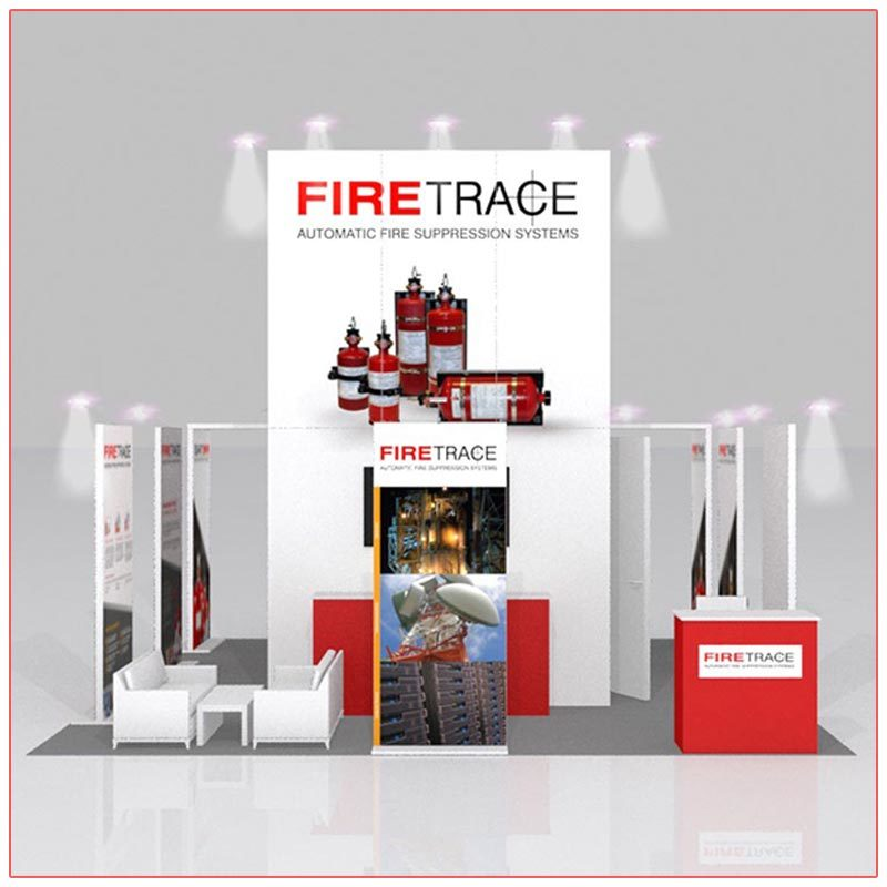 20x20 Trade Show Booth Rental Package 403 Front View - LV Exhibit Rentals in Las Vegas