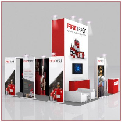20x20 Trade Show Booth Rental Package 403 Side View - LV Exhibit Rentals in Las Vegas