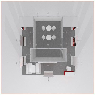 20x20 Trade Show Booth Rental Package 403 Top-Down View - LV Exhibit Rentals in Las Vegas
