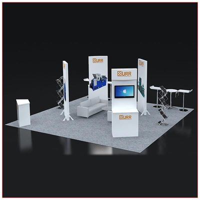 20x20 Trade Show Booth Rental Package 404 Angle View - LV Exhibit Rentals in Las Vegas