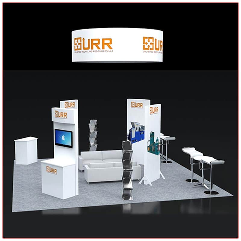 20x20 Trade Show Booth Rental Package 404 Side View - LV Exhibit Rentals in Las Vegas