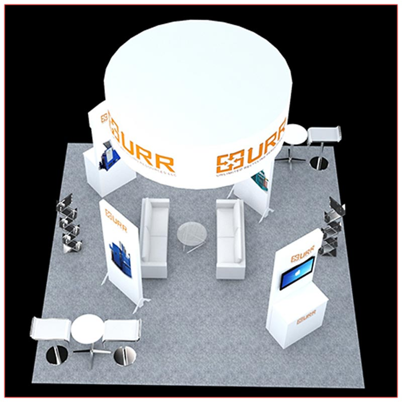 20x20 Trade Show Booth Rental Package 404 Top-Down View - LV Exhibit Rentals in Las Vegas