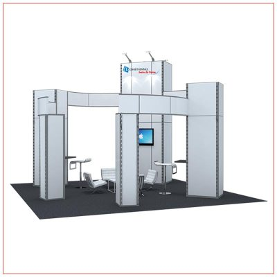 20x20 Trade Show Booth Rental Package 405 - Angle View - LV Exhibit Rentals in Las Vegas