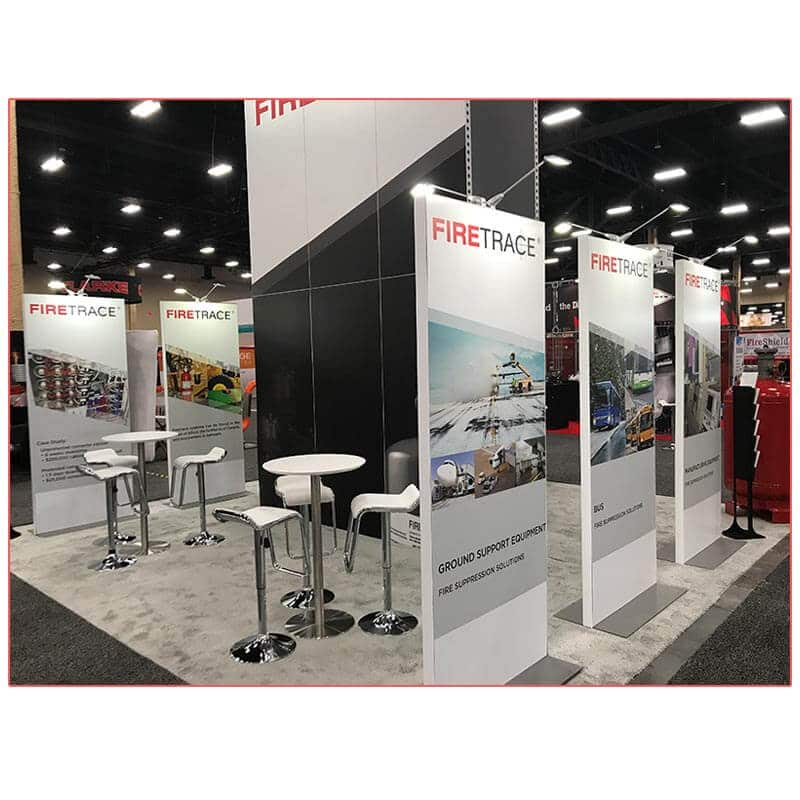 20x20 Trade Show Booth Rental Package 406B - Firetrace - Freestanding Stands - LV Exhibit Rentals in Las Vegas