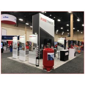 20x20 Trade Show Booth Rental Package 406B - Firetrace - Front Angle - LV Exhibit Rentals in Las Vegas
