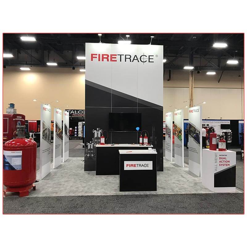 20x20 Trade Show Booth Rental Package 406B - Firetrace - Front - LV Exhibit Rentals in Las Vegas
