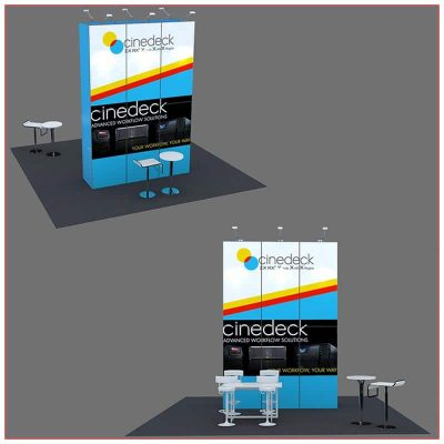 20x20 Trade Show Booth Rental Package 406 Front and Rear Views - LV Exhibit Rentals in Las Vegas
