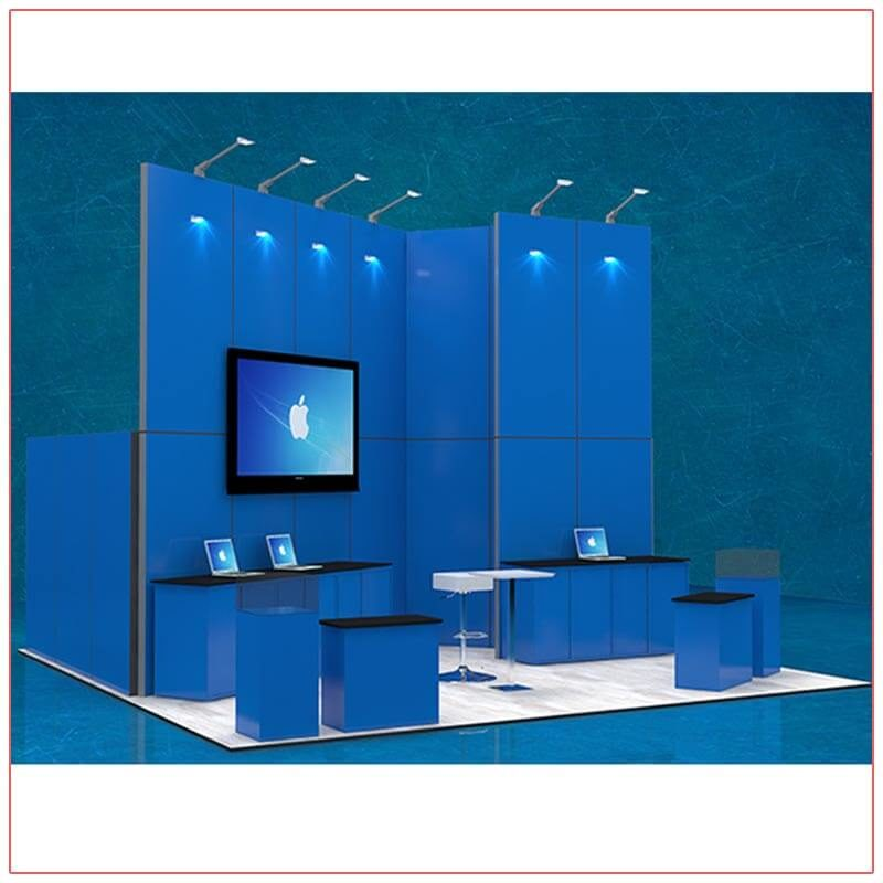 20x20 Trade Show Booth Rental Package 407 - Angle View - LV Exhibit Rentals in Las Vegas