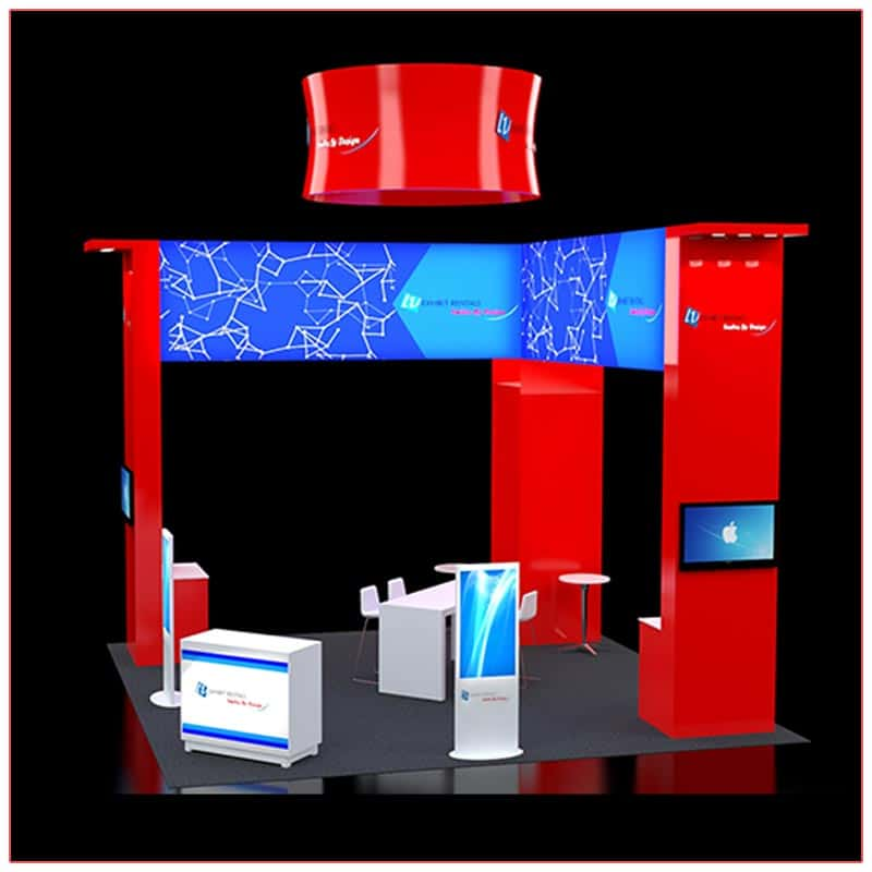20x20 Trade Show Booth Rental Package 408 - Angle View - LV Exhibit Rentals in Las Vegas