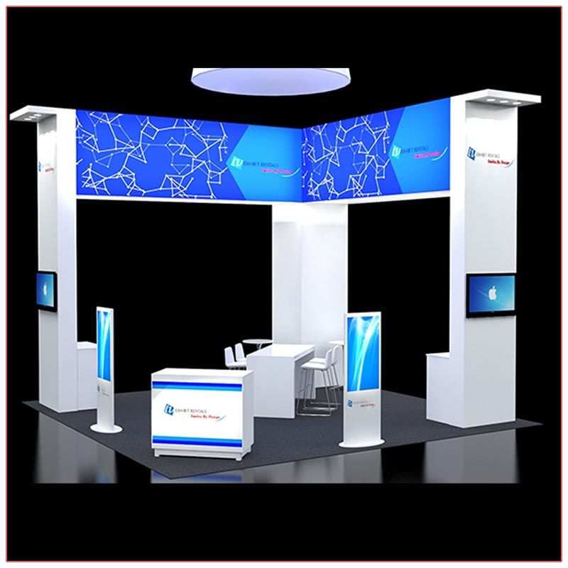 20x20 Trade Show Booth Rental Package 408 - Front Angle View - LV Exhibit Rentals in Las Vegas