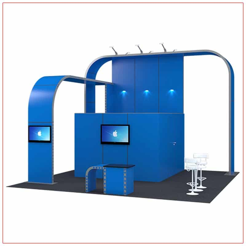 20x20 Trade Show Booth Rental Package 409 - Front Angle View - LV Exhibit Rentals in Las Vegas