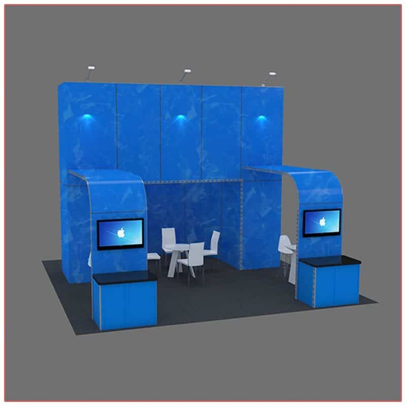 20x20 Trade Show Booth Rental Package 410 - Front Angle View - LV Exhibit Rentals in Las Vegas
