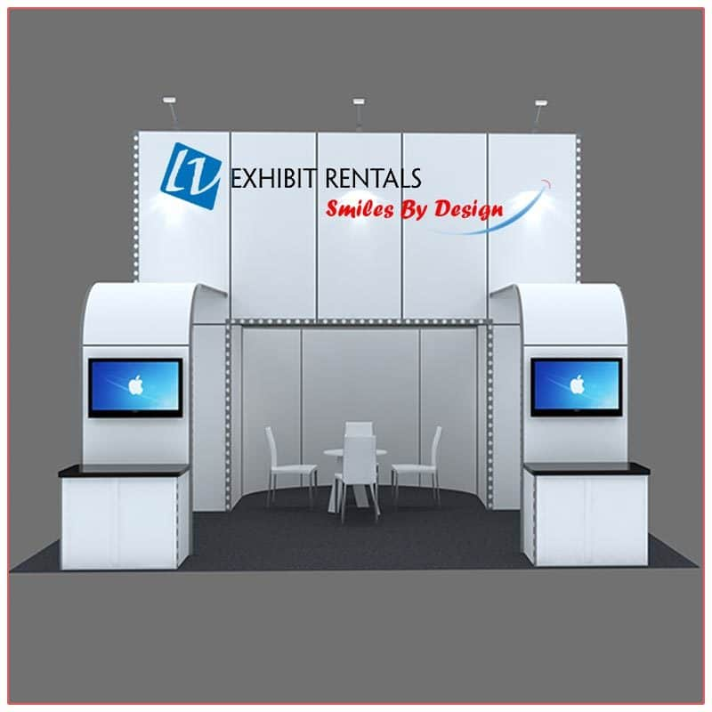 20x20 Trade Show Booth Rental Package 410 - Front View - LV Exhibit Rentals in Las Vegas