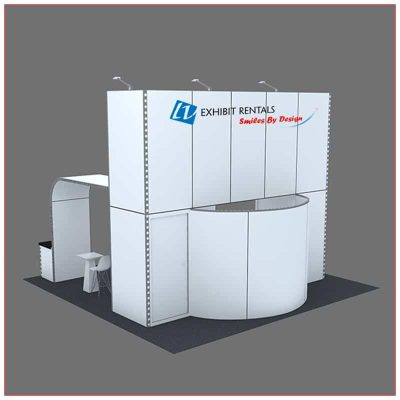 20x20 Trade Show Booth Rental Package 410 - Rear View - LV Exhibit Rentals in Las Vegas