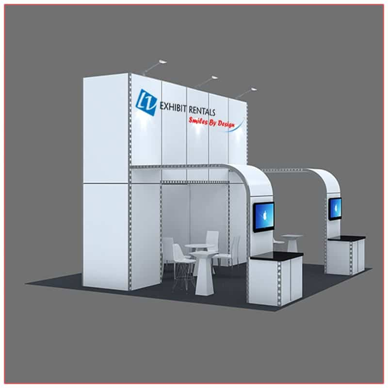 20x20 Trade Show Booth Rental Package 410 - Side Angle View - LV Exhibit Rentals in Las Vegas